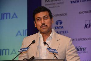 Rajyavardhan Rathore speaking at AIMA's 42nd NMC