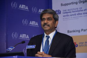 D Shivakumar, Group Executive President - Corporate Strategy & Business Development, Aditya Birla Management Corporation Pvt Ltd. at AIMA's 15th National HRM Summit.
