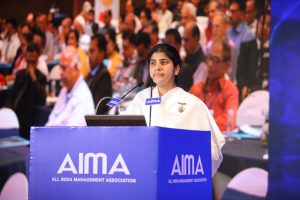 Brahmakumari Sister Shivani addressing AIMA's 4th National Leadership Conclave.